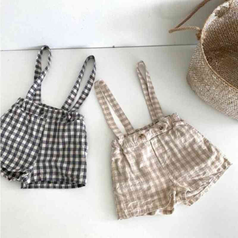Bloomers Little, Lovely Plaid Strap Overalls Fashion Solid Autumn Bottons