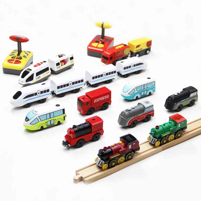 Remote Control Train Connected With Wooden Railway Car Tracks For