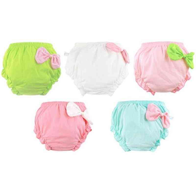 Cute Bow Pattern, Cotton And Breathable Bloomers For Newborn Babies
