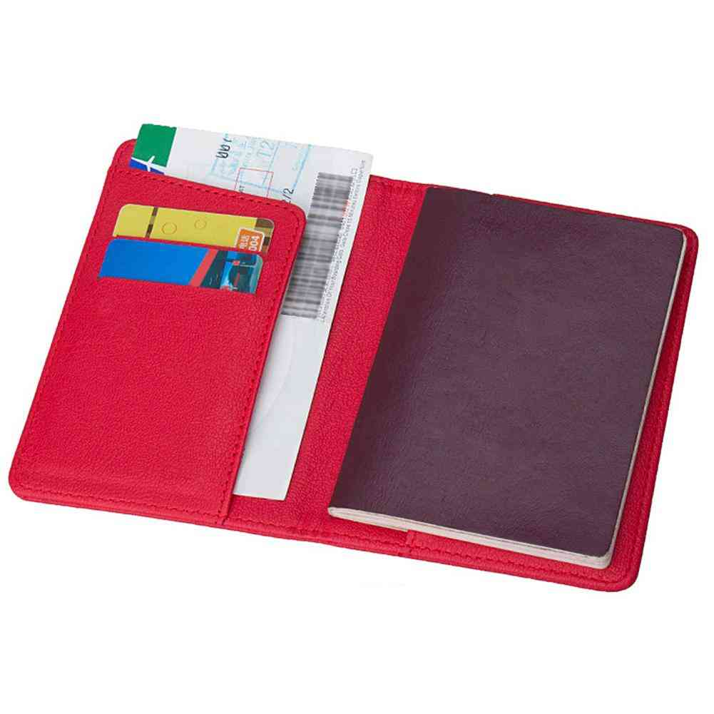 Portable Travel Faux Leather Passport Ticket Holder, Card Storage Bag