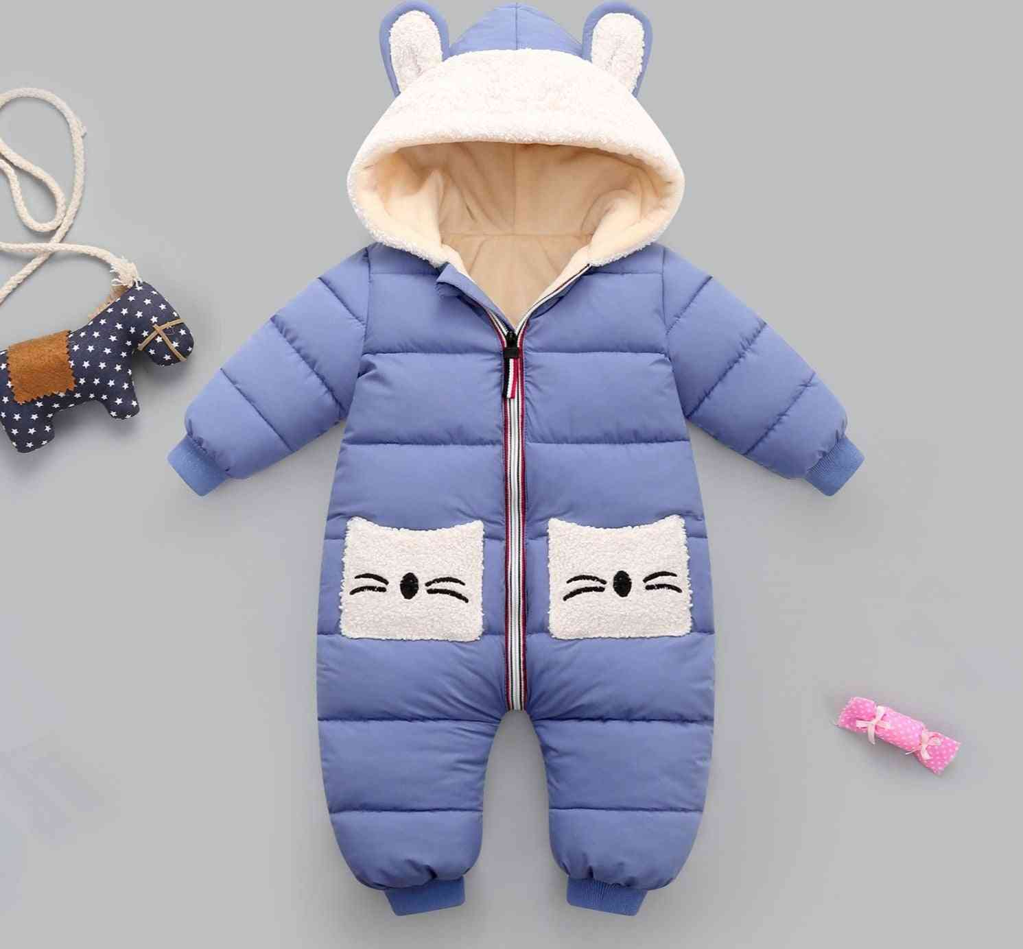 Baby Girl Coat Winter Hooded Mantle Rompers, Thick Warm Jumpsuit Overalls Snowsuit