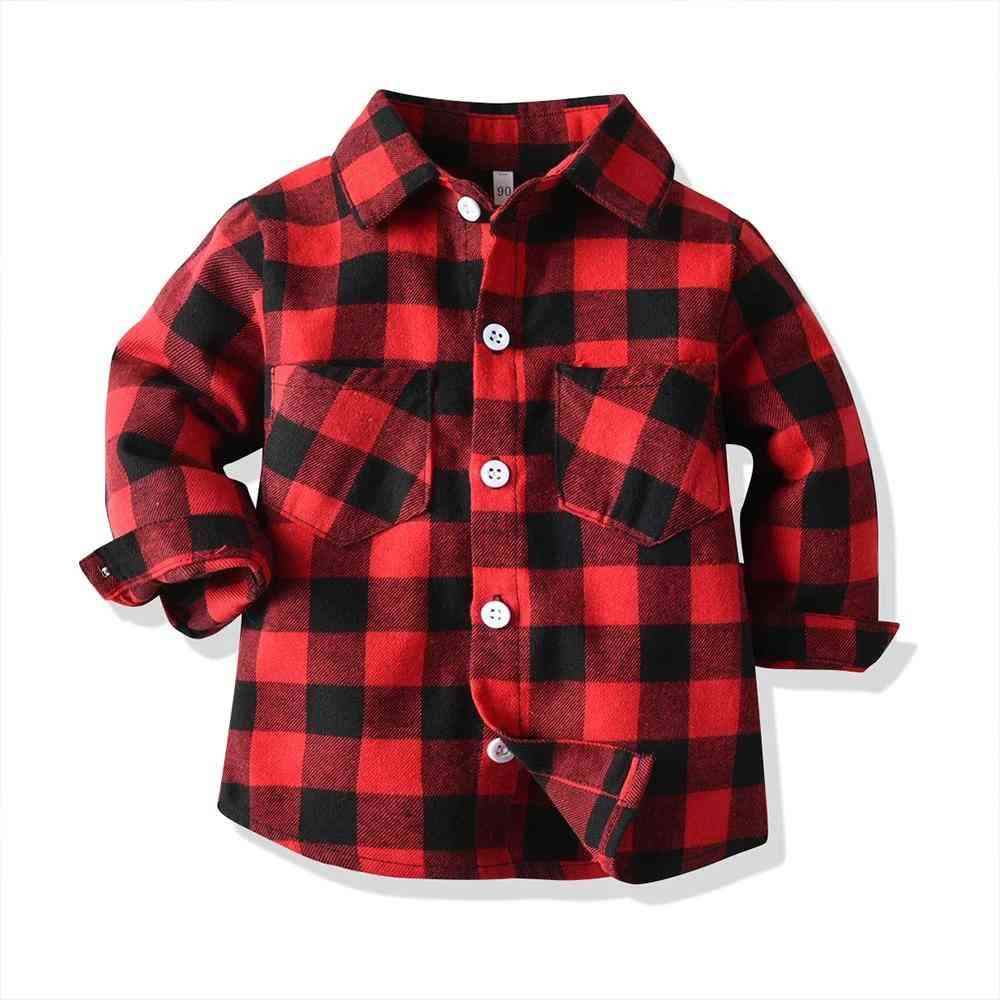 Baby Shirt, Long Sleeve Plaid Blouse Infant Tops