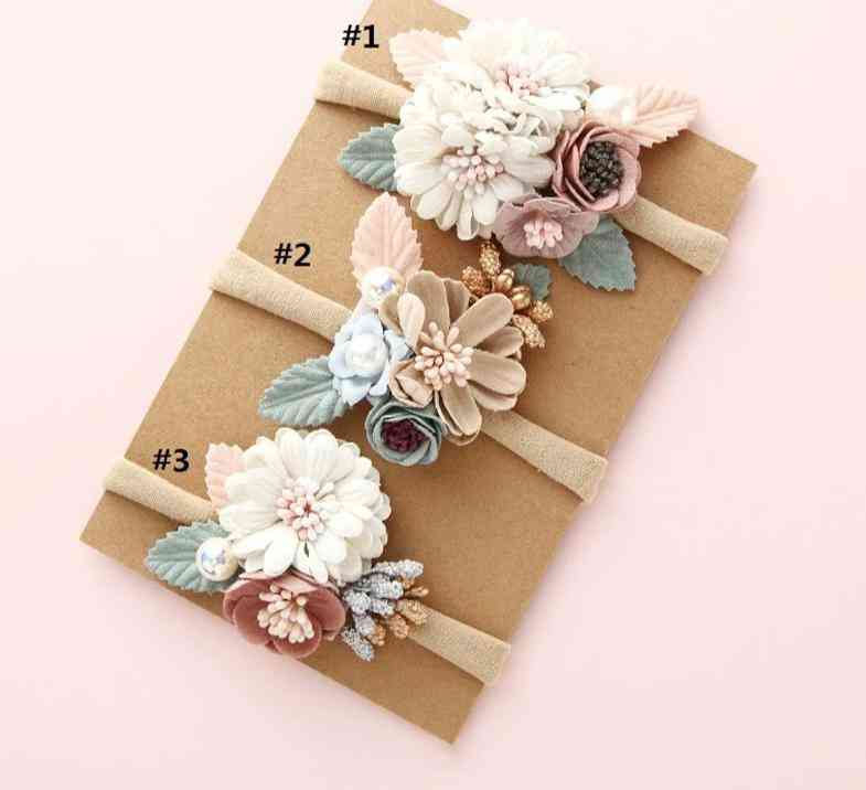 Pearl And Floral Design, Elastic Princess Hairbands For Newborn