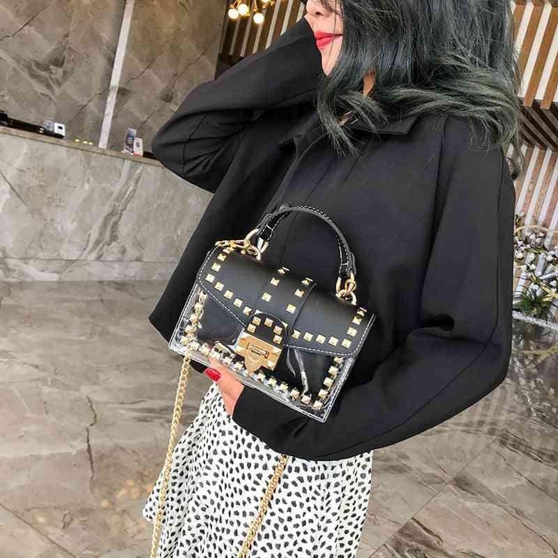 Rivets Design, Transparent Square Shaped-pu Handbag