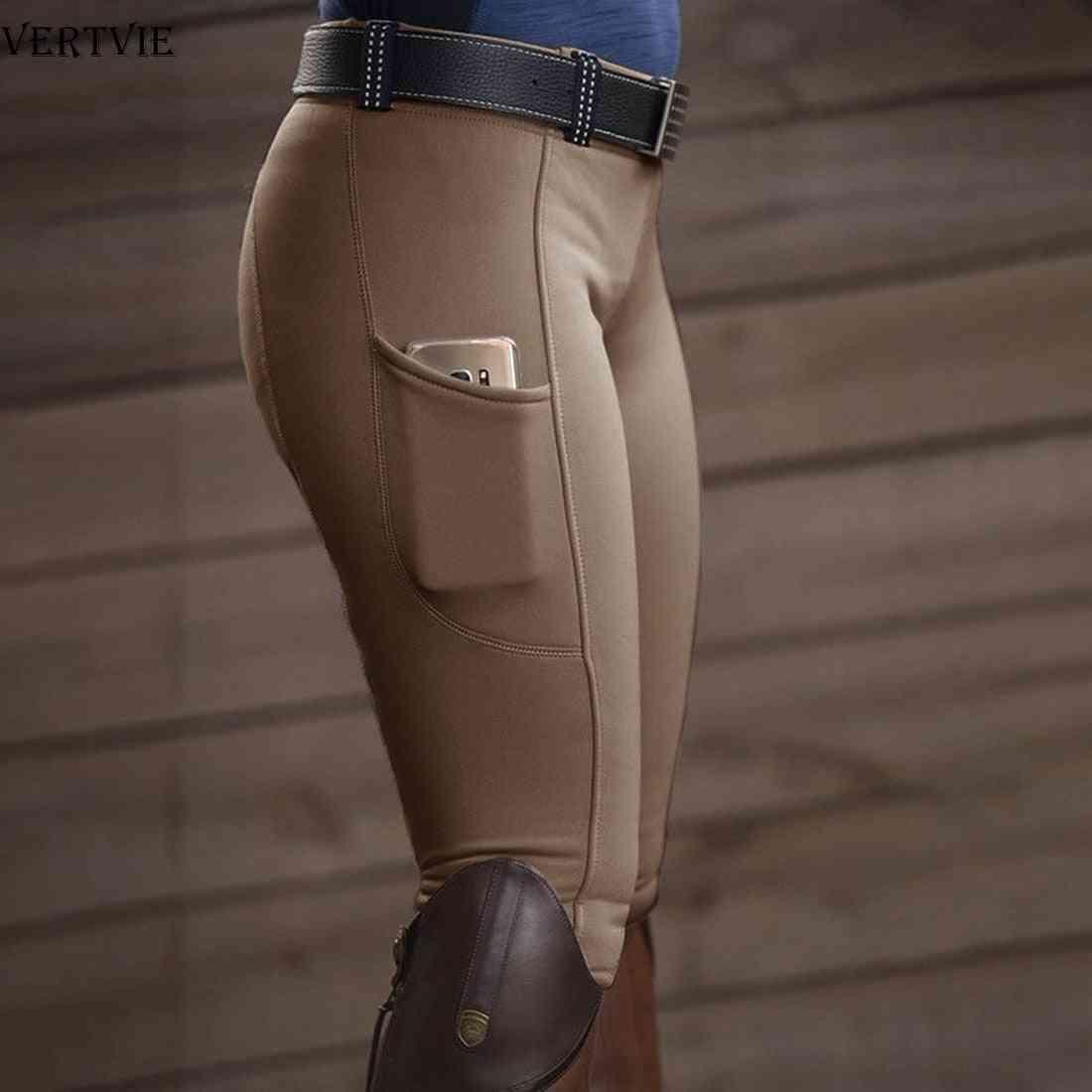 Women Fashion High Waist Elastic Equestrian Pants, Horse Racing Skinny Trousers