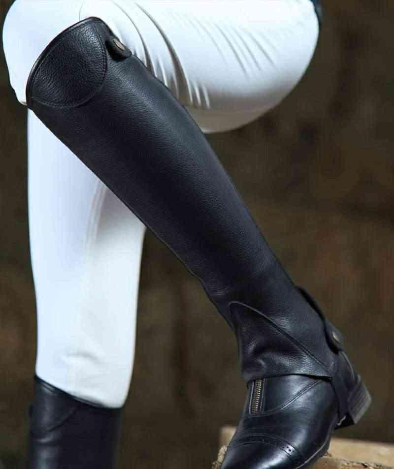 Horse Riding Half Chaps, Full Soft Cow Leather, Body Protector Equestrian Equipment,  Men, Women Saddle, Equitacio Haltern