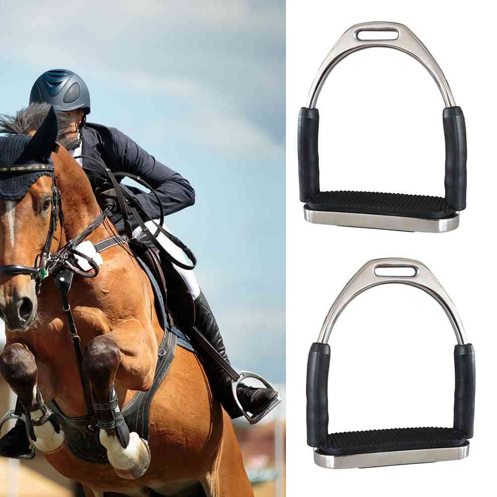 Stainless Steel Anti-slip Durable Racing Stirrups, Safety Horse Riding Folding Saddle Pedals Equipment