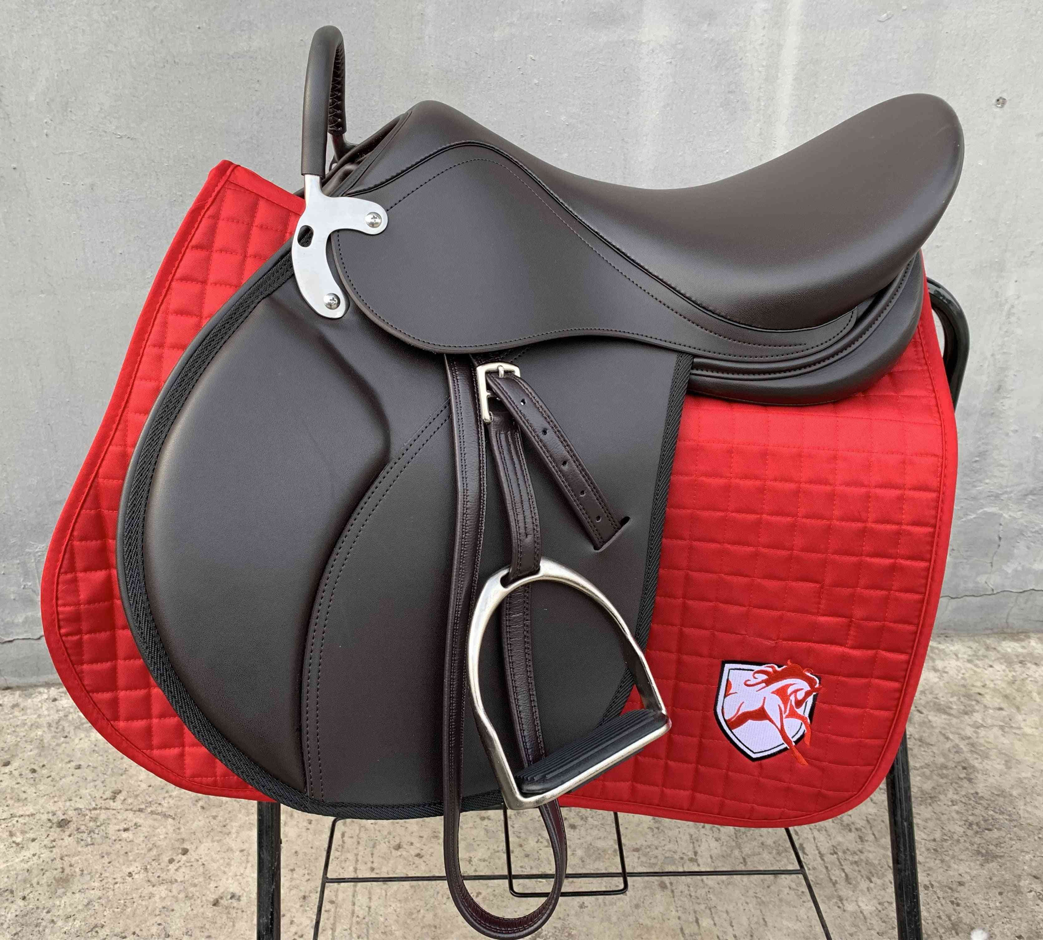 Horse Riding Saddle Pad Horseback Equipments Genuine Leather Integrated Real Cow Hide Rider Set, Mouth Bit Halter Strap