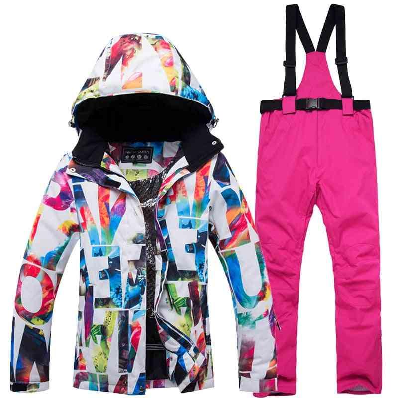 Thick Warm Ski Suit, Waterproof / Windproof Skiing And Snowboarding Jacket & Pants Set