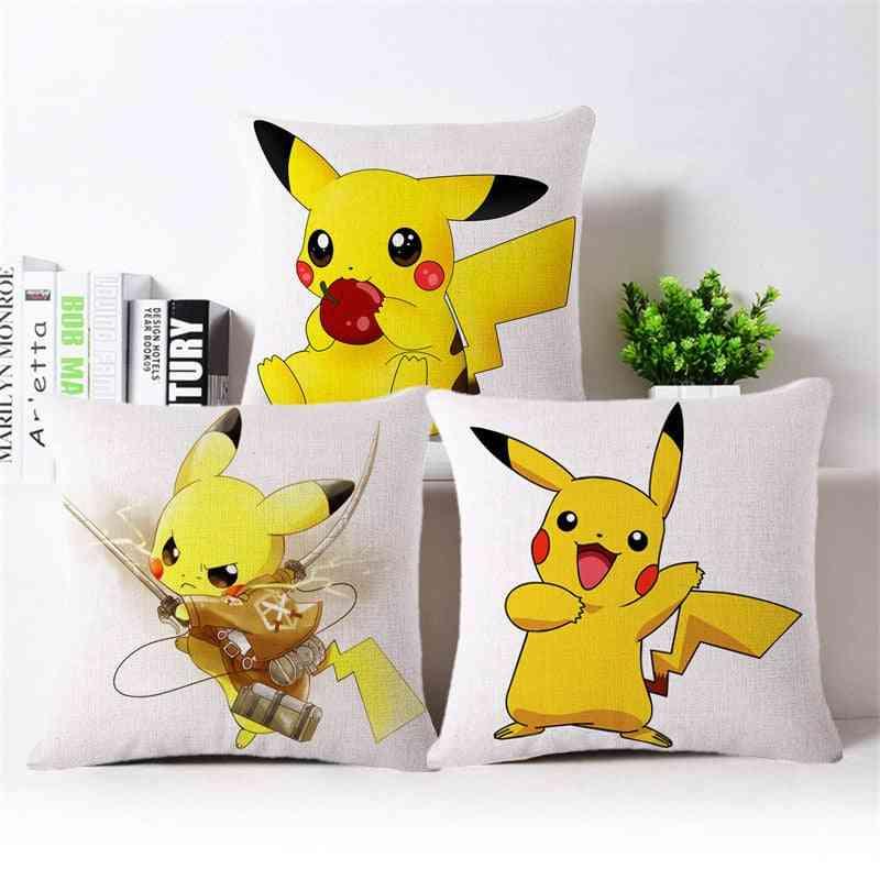 Cartoon Pikachu/ Pokemon Design, Linen Pillow Cover For Home Decor