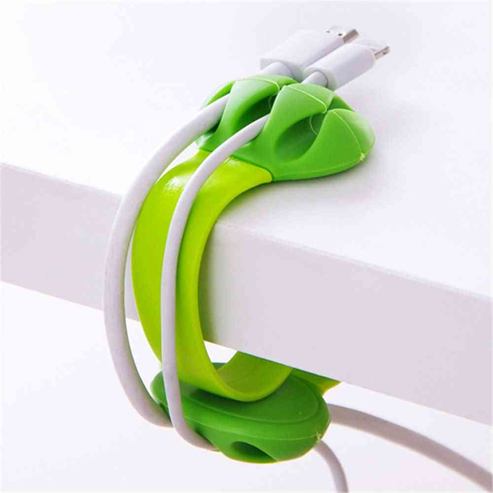 Silicone Cable Winder, Desktop Wire Wrapped Cord Holder, Line Fixer Desk Set