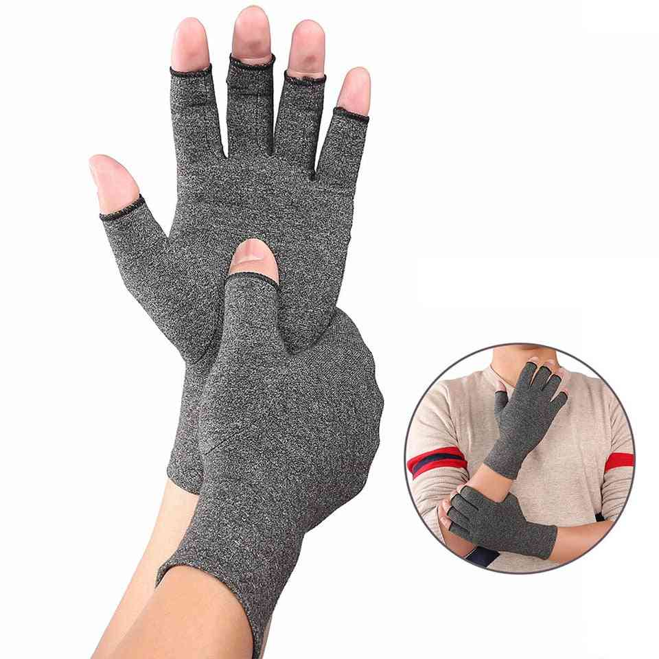 Unisex, Cotton Elastic, Hand Arthritis Pain Relief Open Fingers Gloves