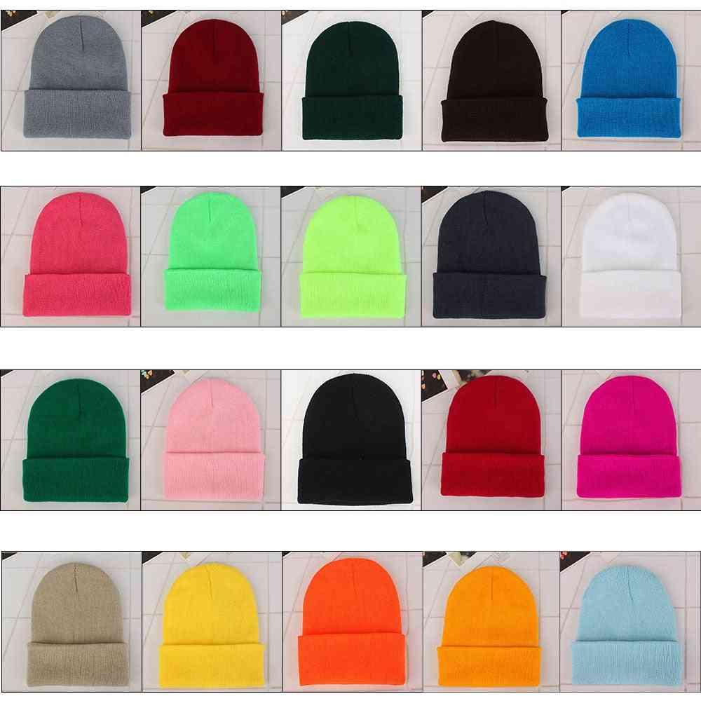Unisex Solid Wool Knit Autumn, Winter Warm Cap