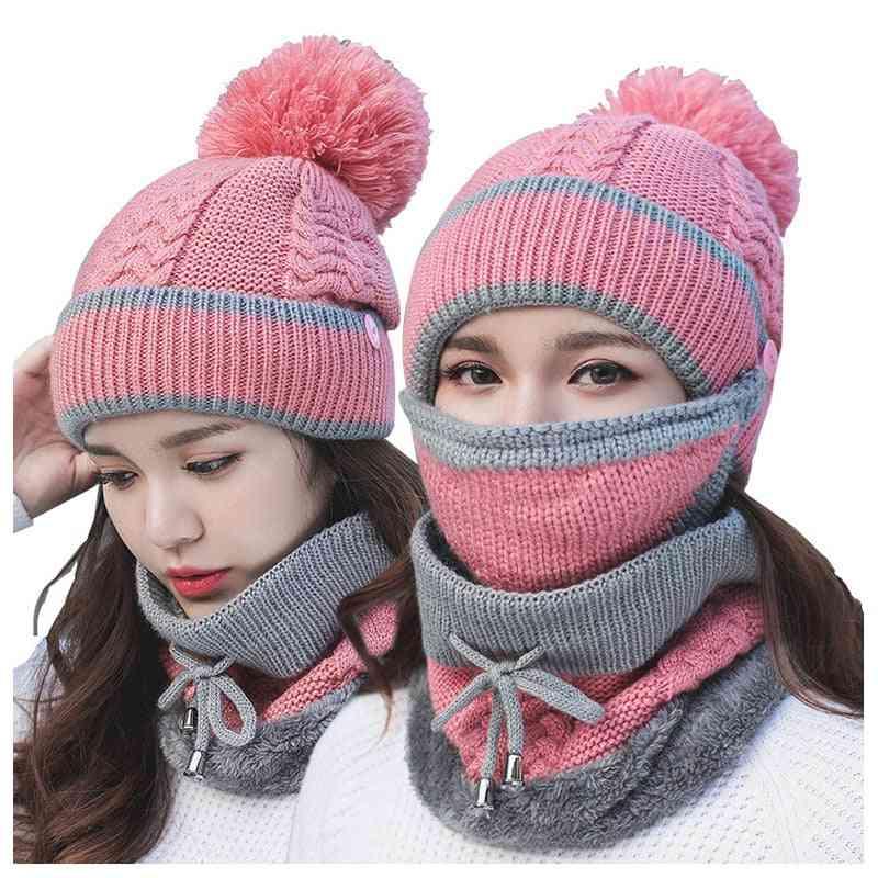 Anti-fog Hats, Women Warm Knitted Wool Cap
