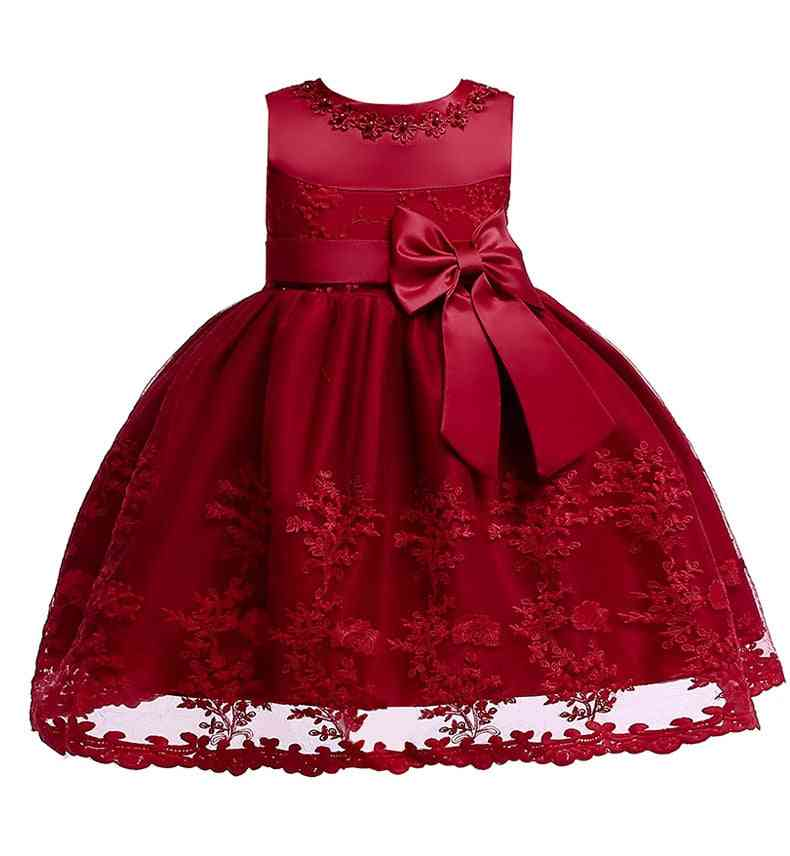 Newborn Clothes-baby Wedding Party Princess Dress With Waist Bow