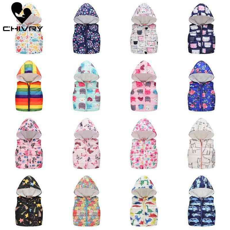 Sleeveless Hooded Wool Vest Jacket With Cartoon Print Coat For Kids, Warm Outwear Clothes