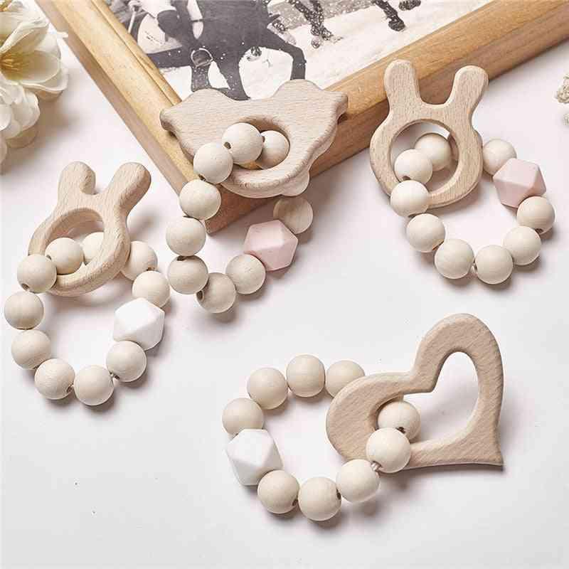 Baby Silicone Nursing Bracelets Wood Teether Beads Teething Rattles