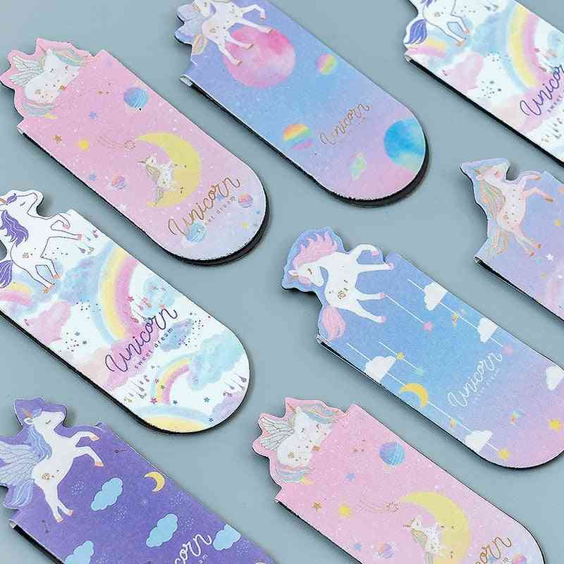 Flying Unicorn Magnetic Bookmarks, Books Marker Of Page Stationery School