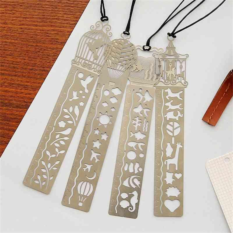 Cute Hollow Metal Bookmark Ruler