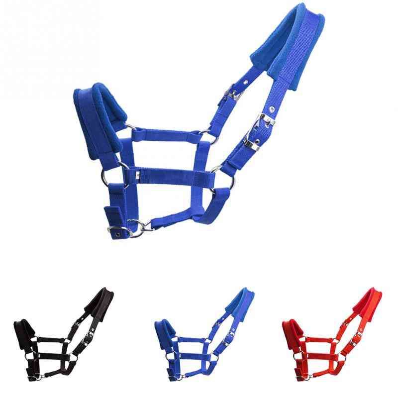 Adjustable Strap Double-layered Protective Detachable Horse Halter, Outdoor Fleece Padded