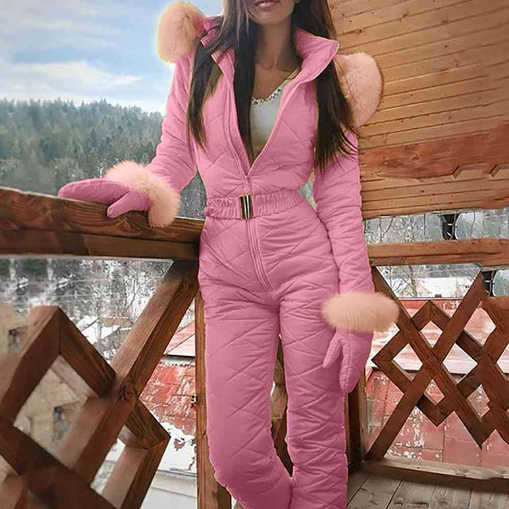 Women's One Piece Ski Jumpsuit-casual Thick Warm Play Suit