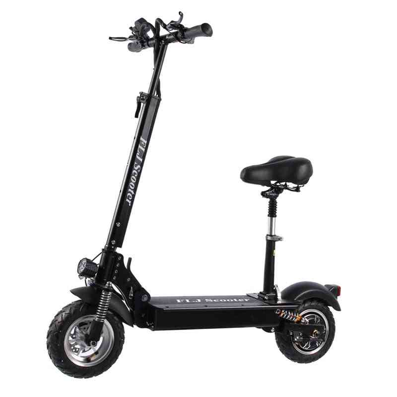 Electric Scooter With Seat Kick Foldable Big Wheel