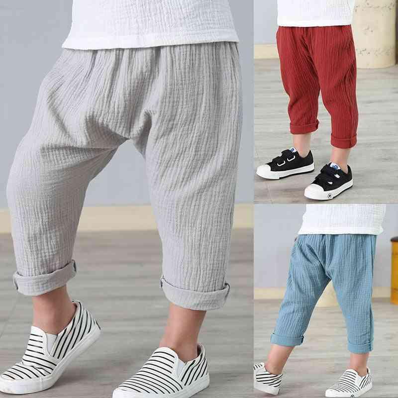 Linen Pleated Kids Summer Ankle-length Harem Pants