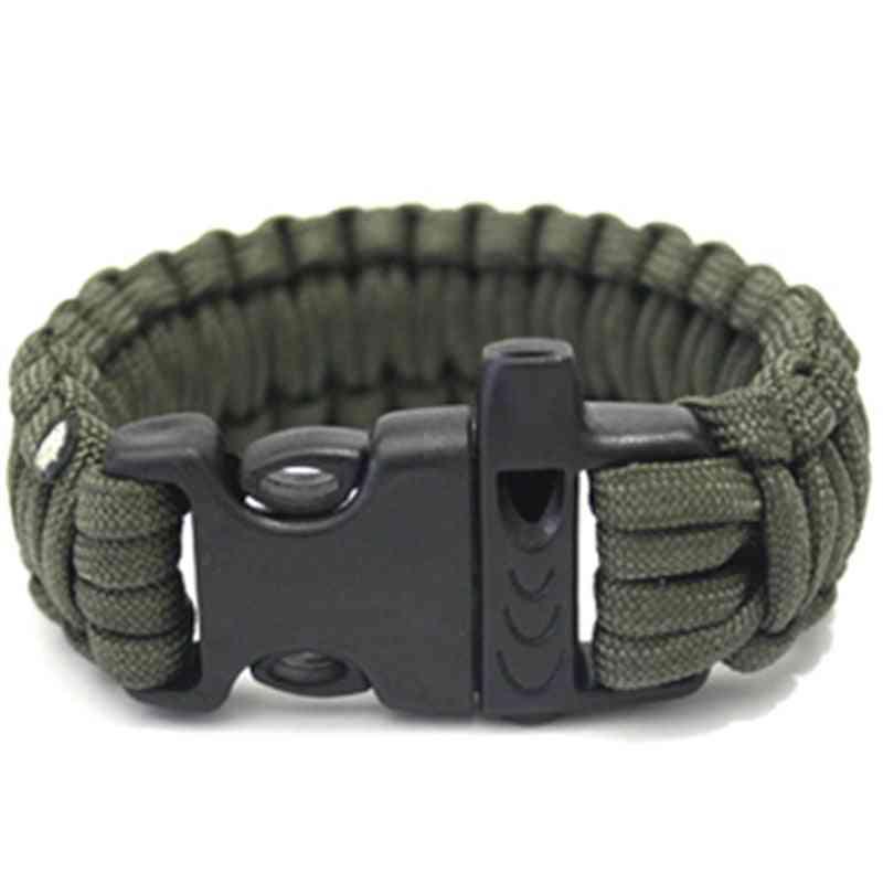 1pc Tactical Survival Paracord Bracelet With Whistle Buckle