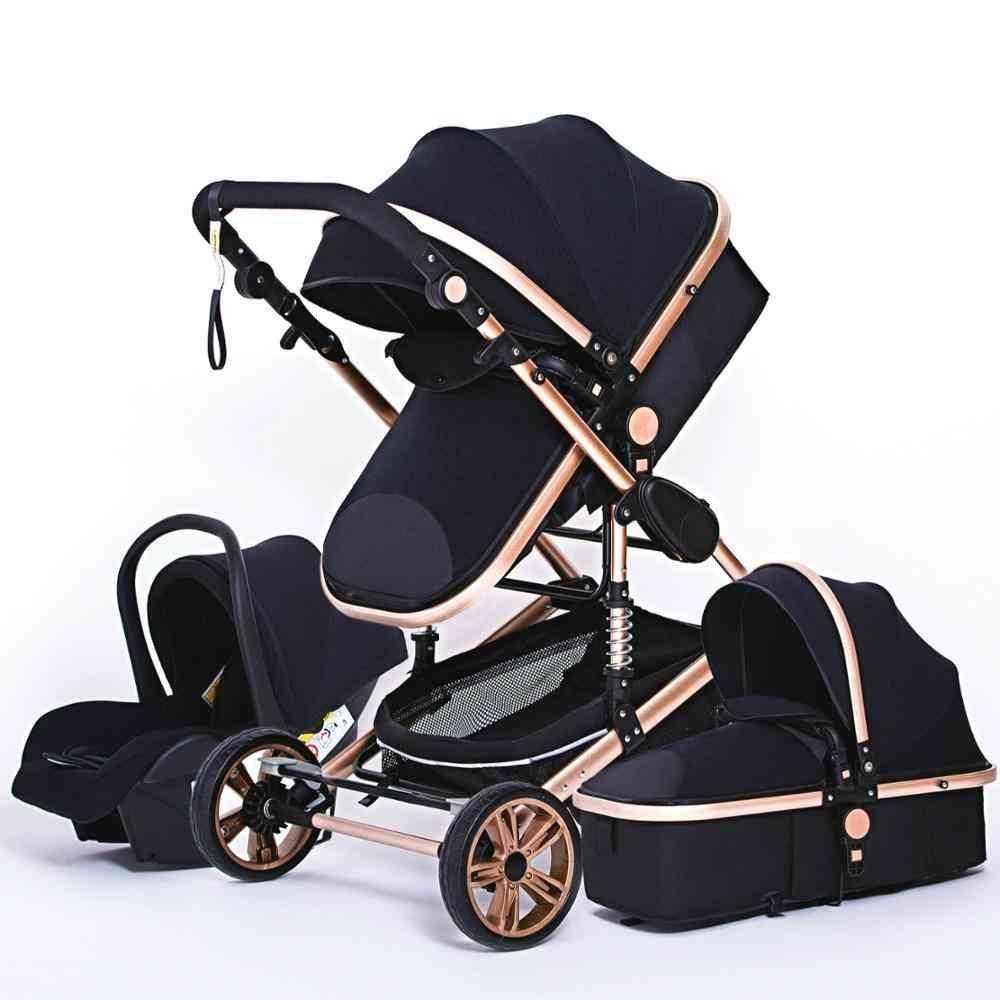 Multifunctional Baby Stroller, Portable High Landscape 4 Wheel Strollers Folding