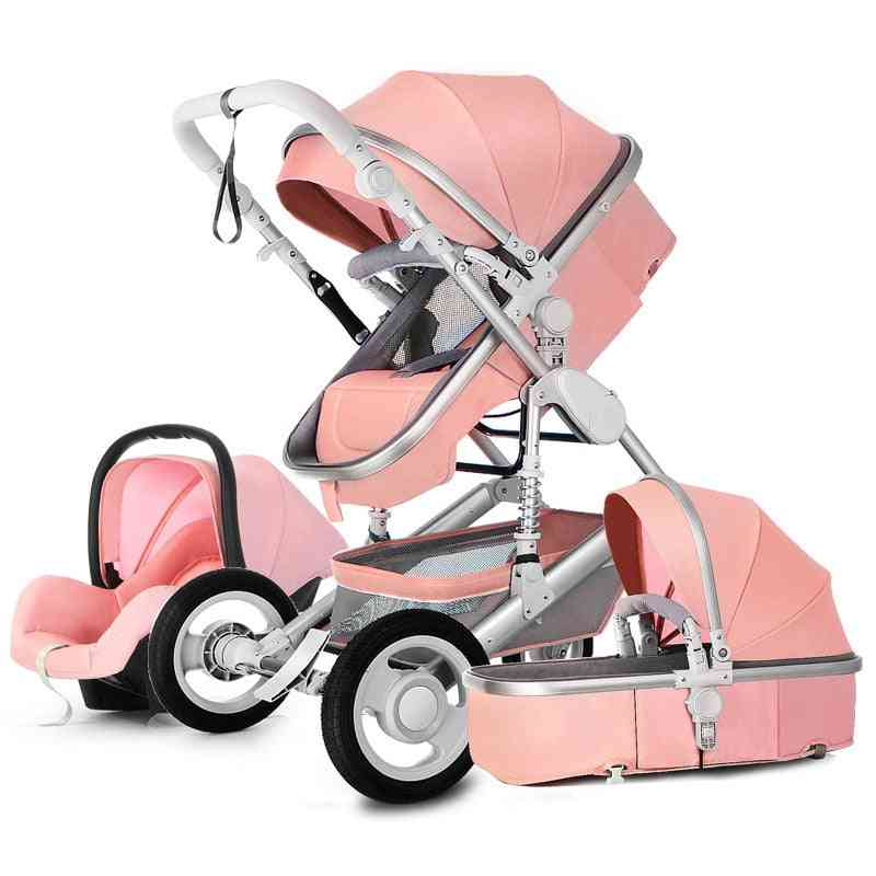 Baby Stroller 3 In 1 Luxury Travel Pram Carriage Basket Car Seat And Cart