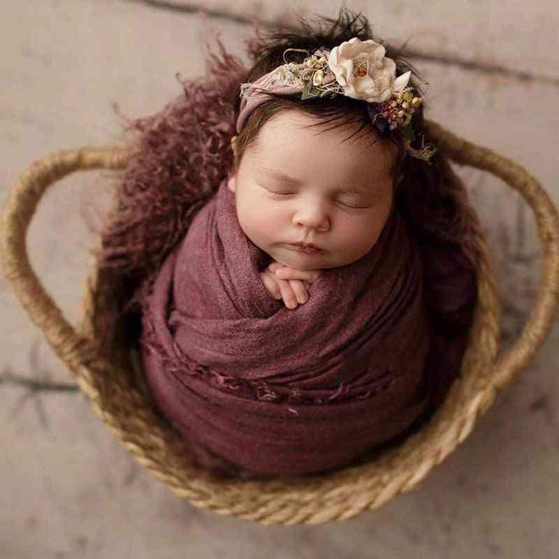 Newborn Basket Photography Props Handwoven Baby Bed