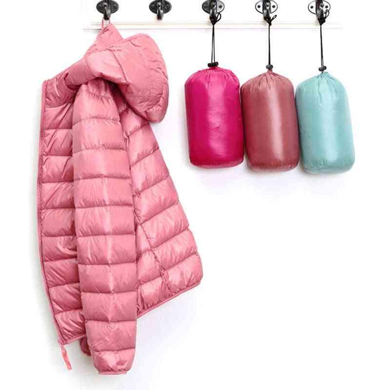 Winter Women Ultralight Thin Duck Down Hooded Jackets, Long Sleeve Warm Coat