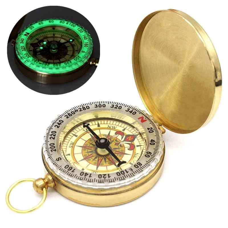 Camping / Hiking Pocket Brass Compass, Navigation For Outdoor Activities