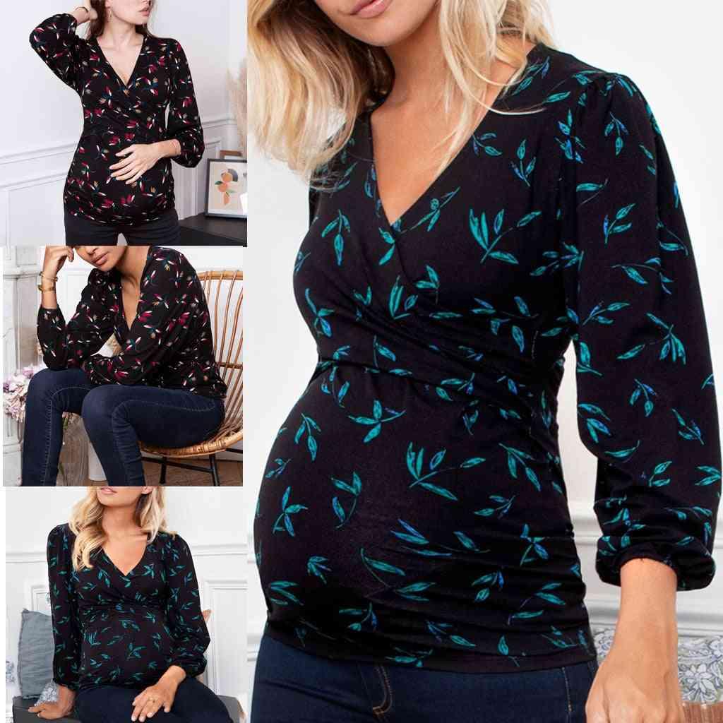 Pregnant Women Nursing V-neck Long Sleeve Ruffles Printed Blouse Tops