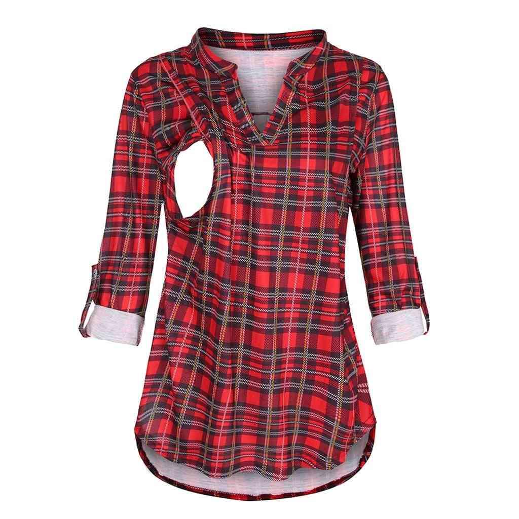 Women T-shirt, Long Sleeve Plaid Print Nursing Tops / Blouse