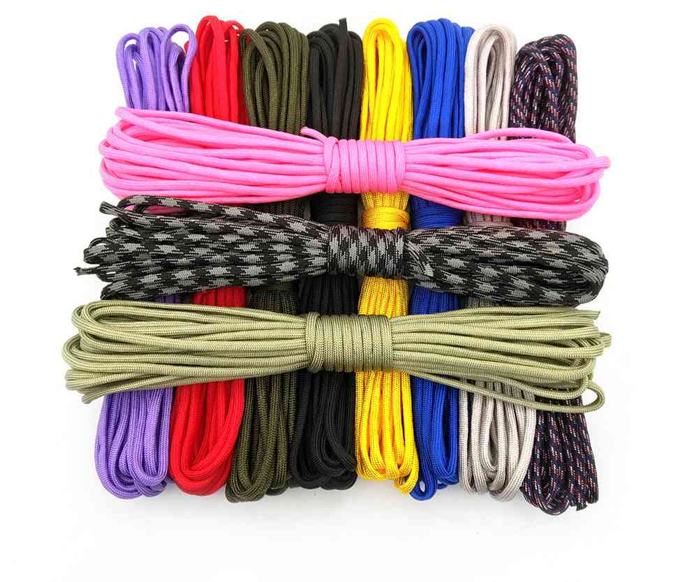 550 Parachute Cord Lanyard Rope Mil Spec Type-iii 7 Strand For Climbing & Camping