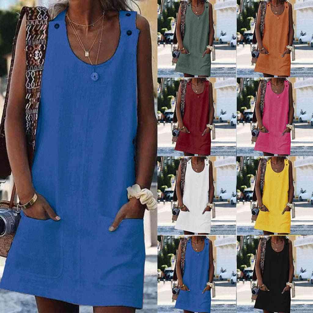 Knee Length Mini Casual Dress With Pockets