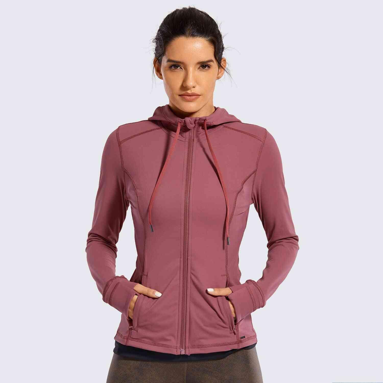 Women Sportswear Hooded Workout Jacket With Zip Pockets