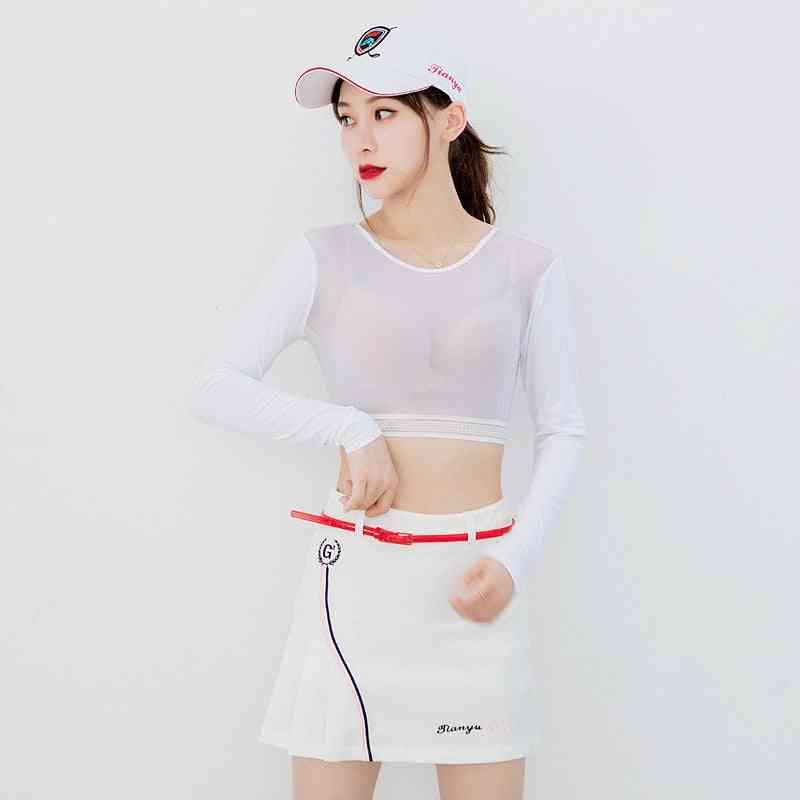 Women Thin Golf Shirts, Sunscreen Inside Wear Cropped Tops