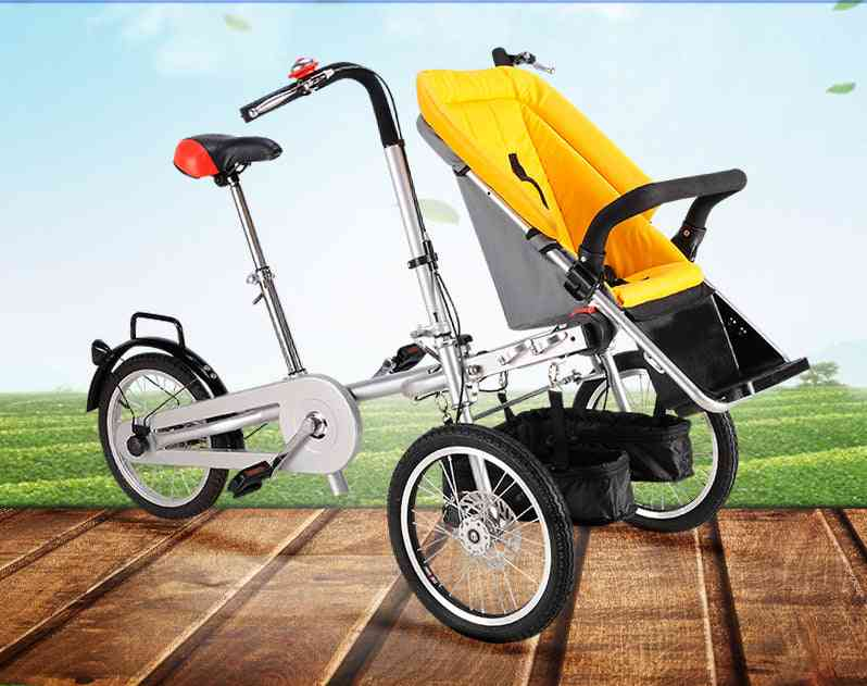 3 Wheels Mother Folding Baby Bicycle / Bike Stroller Pushchair Carrier With Suncover