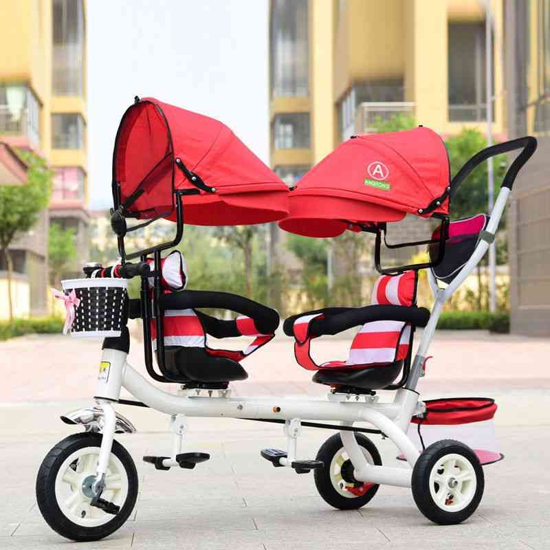 Baby Twin Tricycle, 3 Wheels Double Stroller Guardrail Seat Bicycle Car Pram