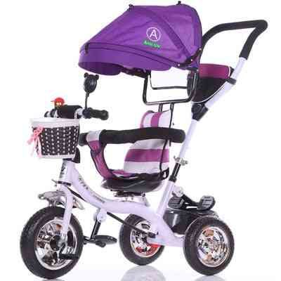 Convertible Handle Baby Tricycle / Stroller Riding Bicycle Car Travel System Folding Sit Flat Lying Trike Baby-carriage