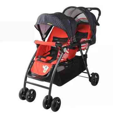 Can Sit On A Reclining Four Wheeled Cart, Infant Car Twin Baby Double Stroller