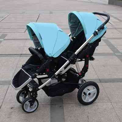 Baby Twin Stroller, Double Front And Rear Car Light Folding