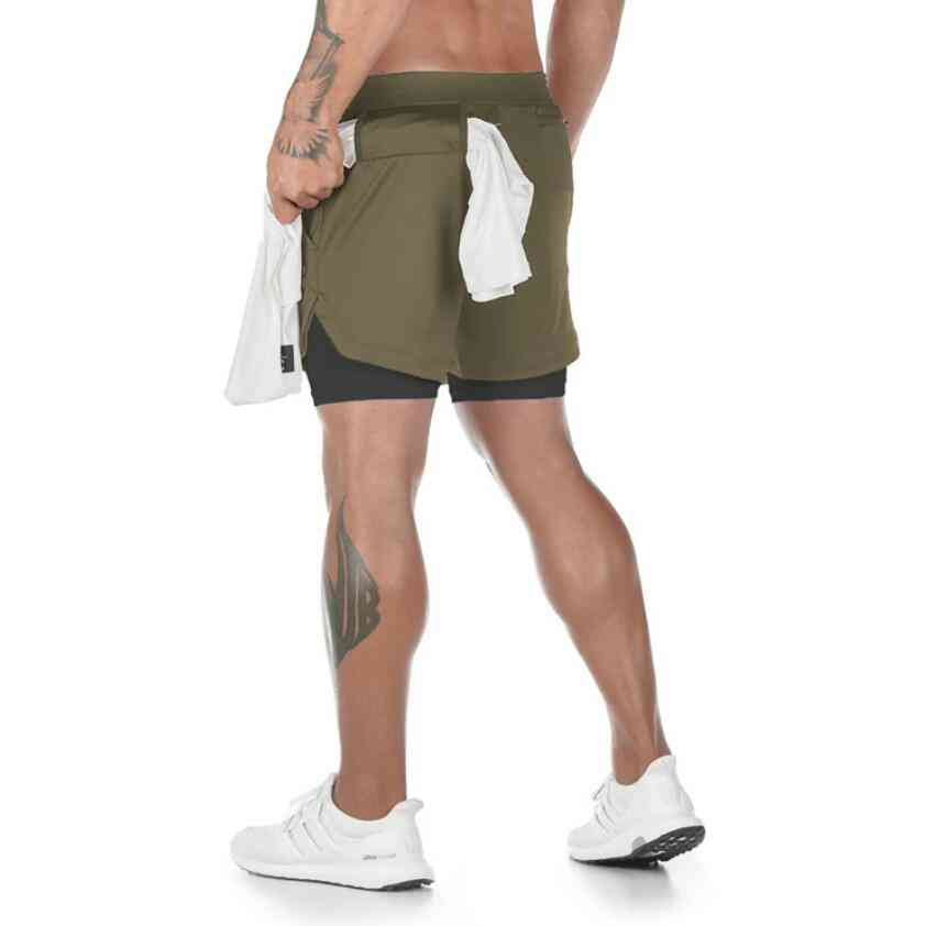 2-in-1 Sports Fitness Running Shorts