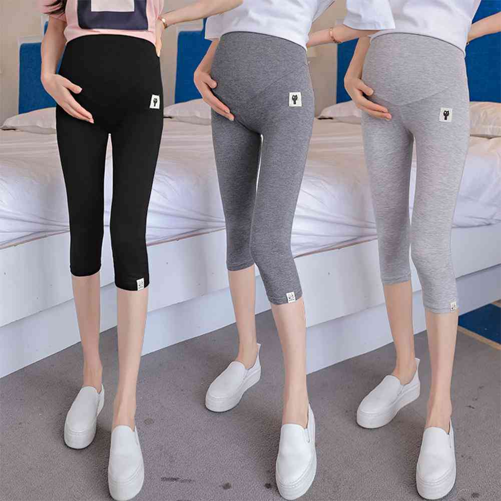 Cat Pattern Cropped Leggings For Pregnant Woman-support Abdomen