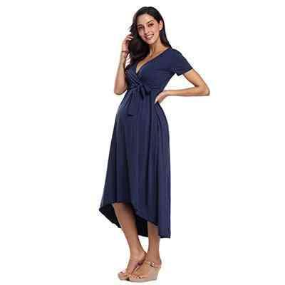 Women High-low Surplice Wrap With Waist Belt Nursing Dress
