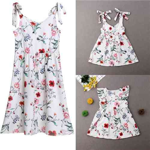 Summer Floral Family Dress-matching Cotton Outfits For Mother And Daughter