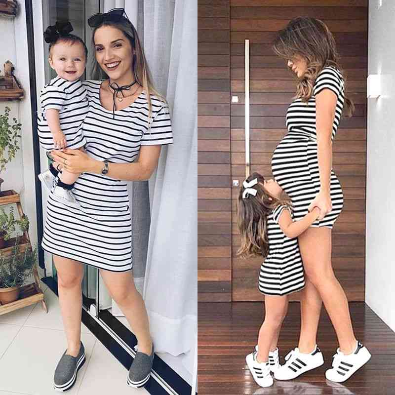 Striped Cotton Casual Summer Dress-mother & Daughter Matching Outfits