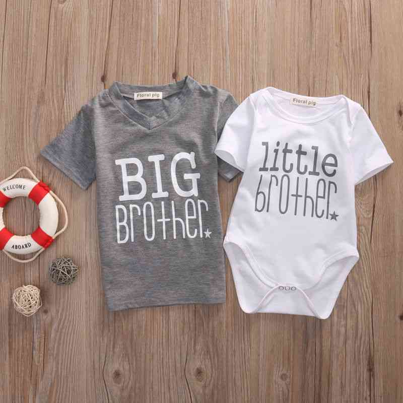 Big/little Brother Printed Romper And T-shirt-summer Short Sleeve Clothes
